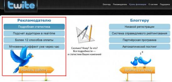Главная страница сервиса twite.ru