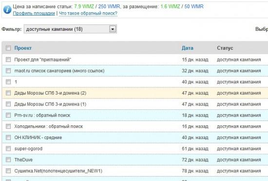Проекты обратного поиска оптимизаторов в Миралинкс