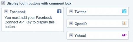 Сервисы авторизации в disqus: facebook, twitter, openid, yahoo