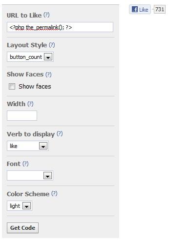 Получение кода для кнопки facebook