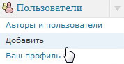 Меню добавления нового пользователя в wordpress