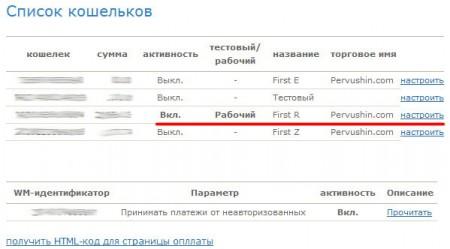 Кошельки в системе вебмани настроены для приема автоматических платежей