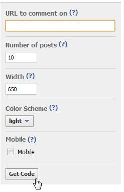 Опции виджета комментариев facebook