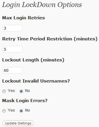 Настройки плагина для wordpress Login LockDown