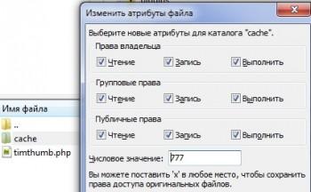 Папке cache выставляем права на запись 777