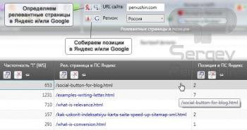 Определяем релевантные страницы и снимаем позиции сайта