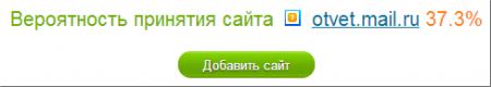 Вероятность принятия сайта otvet.mail