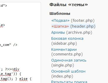 Файлы шаблона в wordpress