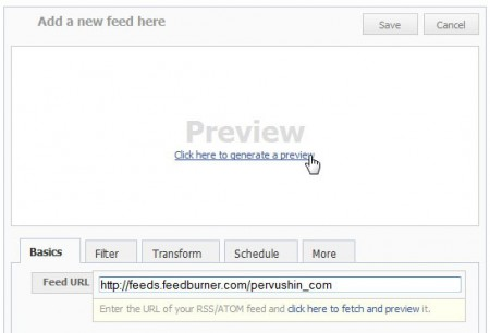 Добавление RSS потока в facebook