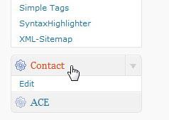 """Новый пункт меню """"Contact"""""""