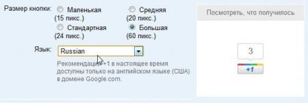 Выбираем размер кнопки и язык сайта