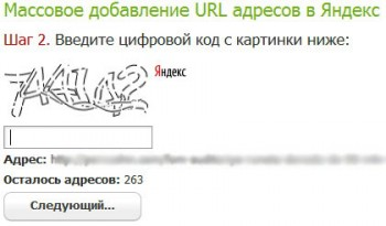 Ввод каптчи и подтверждение добавления адреса в Яндекс