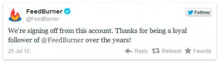 Аккаунт feedburner в twitter официально закрыт