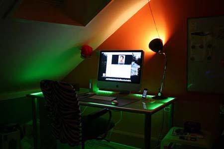 Дополнительные цветные контрастные фильтры на обычной настольной лампе